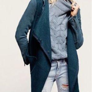 Free People Wool Asymmetrical Hooded Sweater Coat